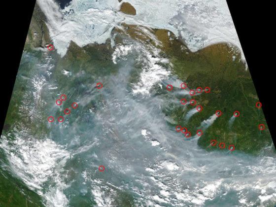 Das Bild zeigt eine Satellitenaufnahme Sibiriens mit zahlreichen Rauchfahnen die Bränden entstammen