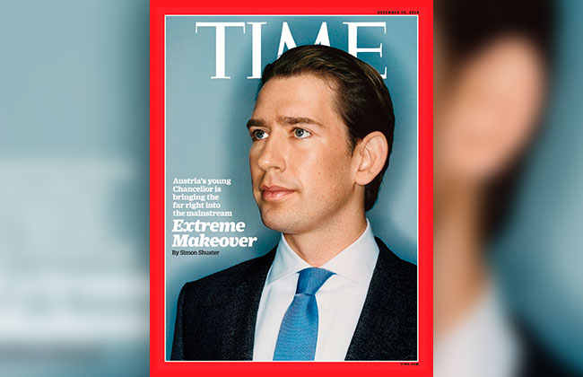 Titelfoto des Time Magazine mit Bundeskanzler Sebastian Kurz