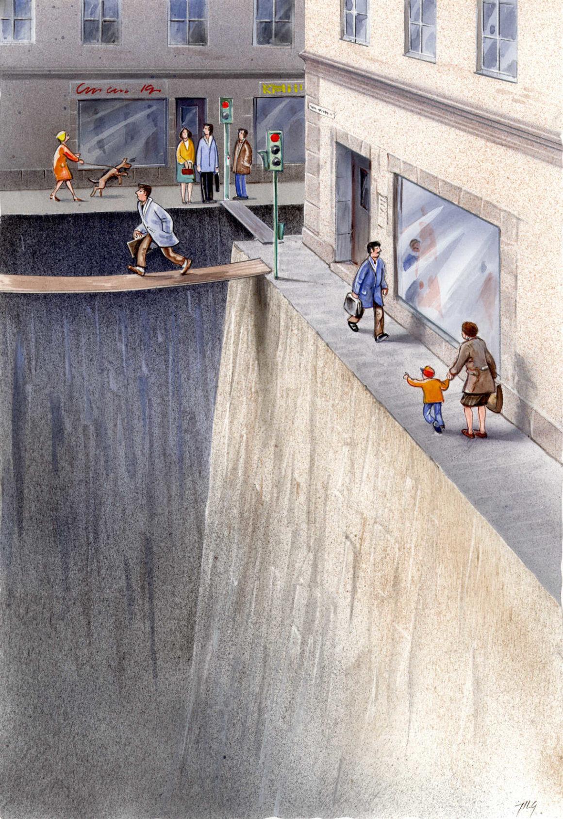 Grafik (c) Karl Jilg - verbleibender Lebensraum der Menschen neben PKW-abgründen