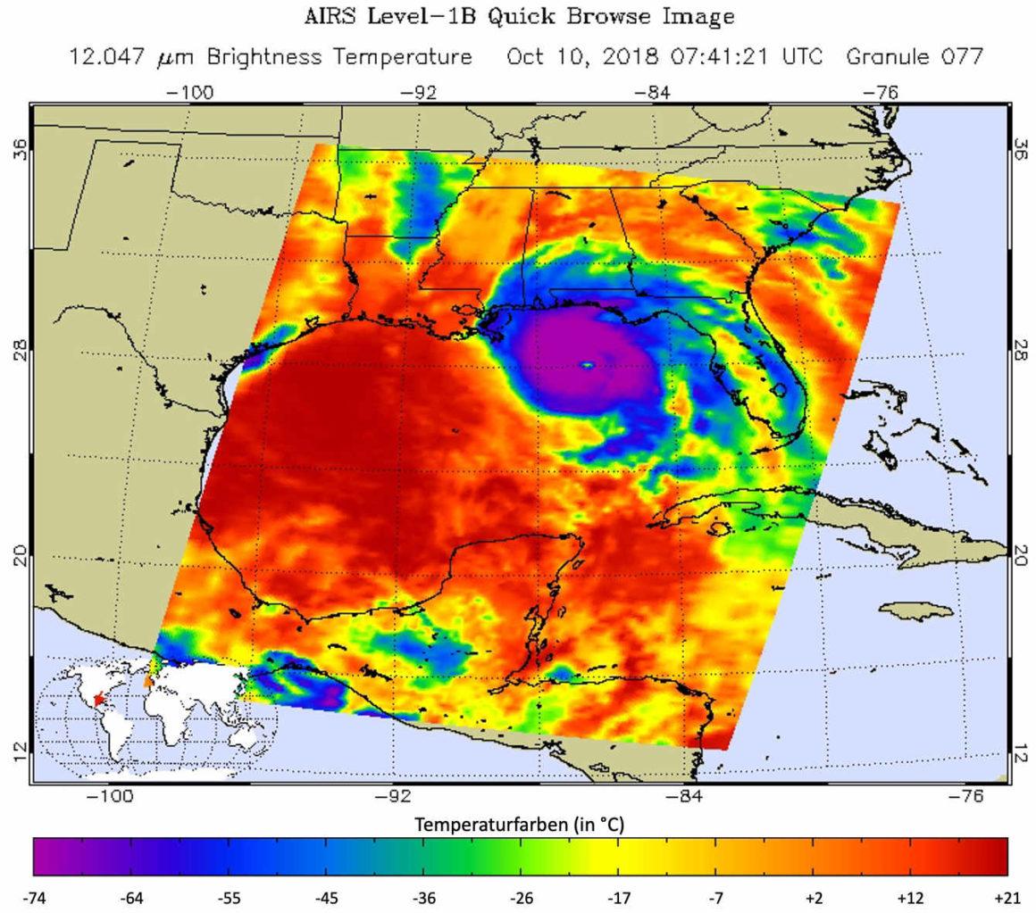 Tropischer Wirbelsturm Michael - Wolkentemperaturen in Farbe