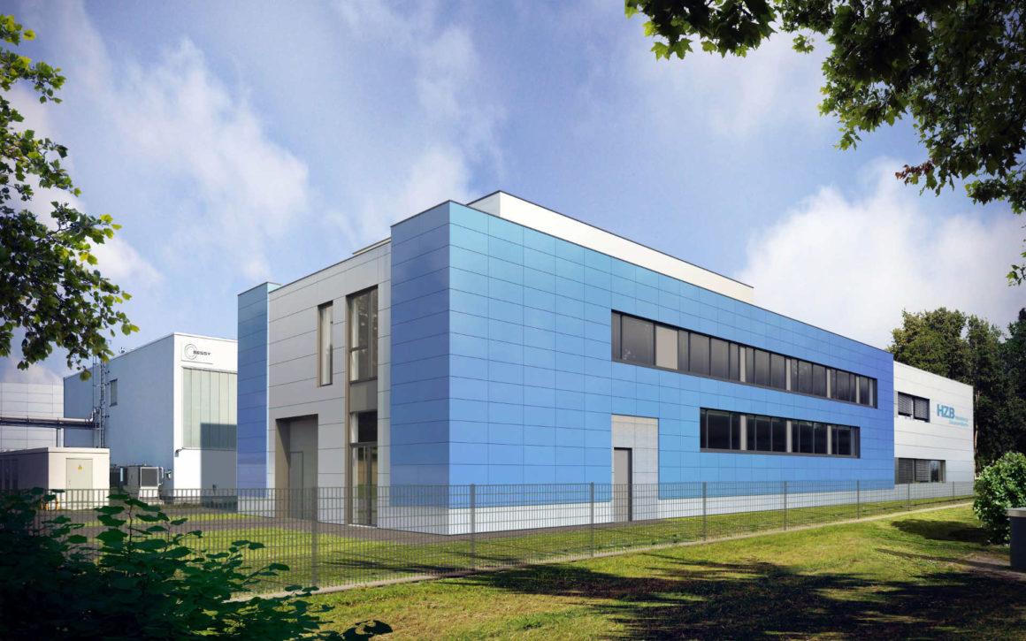 Halle des Helmholtzinstituts Berlin mit Fassadenelementen aus Dünnschichtsolarmodulen